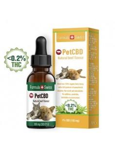 Formula Swiss Gotas de Aceite de CBD Aroma de carne 1-3% (100-300 mg) para mascotas